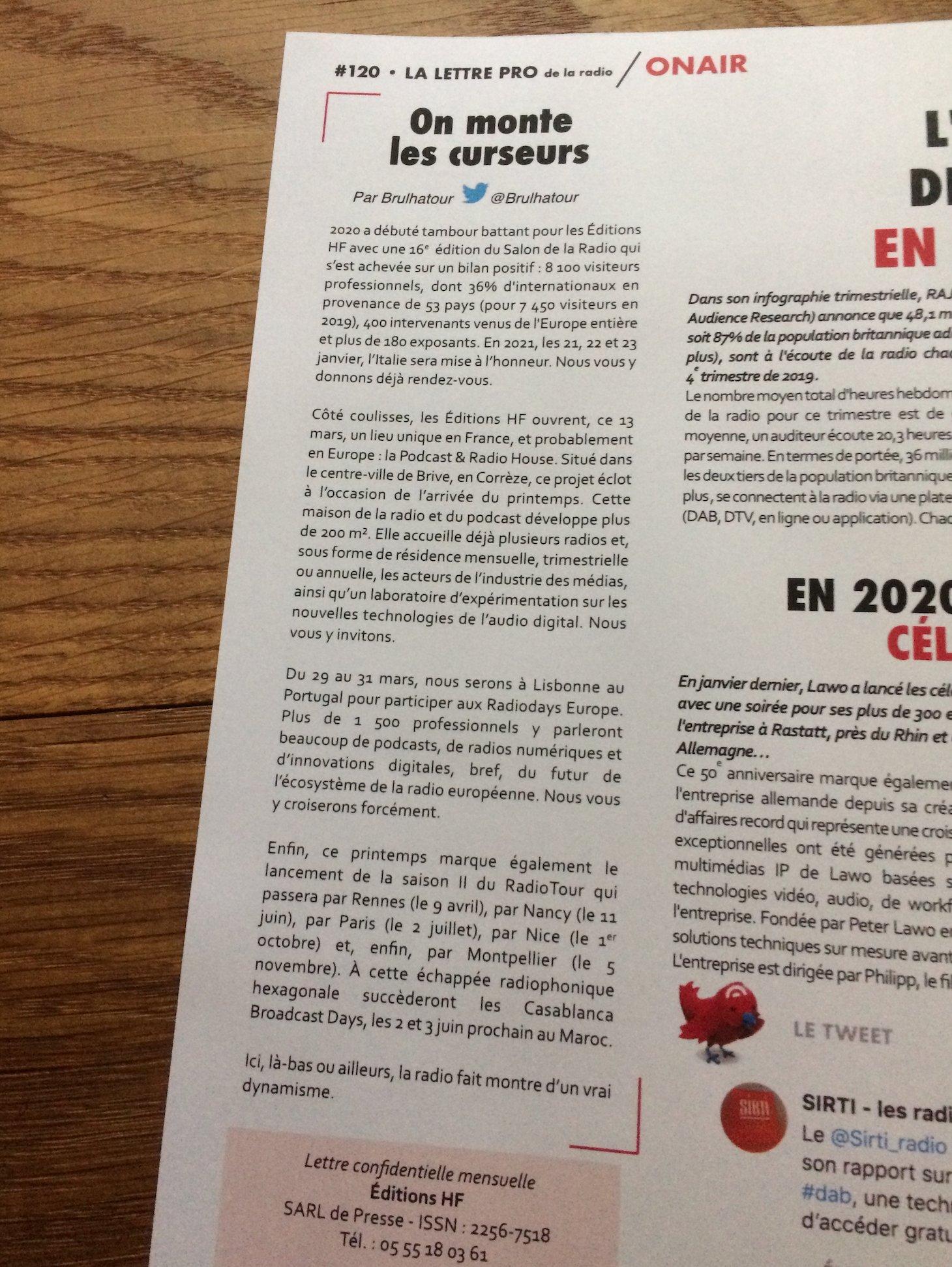 """""""On monte les curseurs"""" : mon édito dans le dernier numéro de @LaLettrePro de la Radio."""