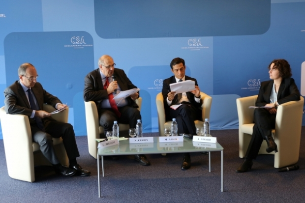 Hier matin au Conseil supérieur de l'audiovisuel : Gilles Brégant, Nicolas Curien, Martin Ajdari et Angélique Girard © CSA