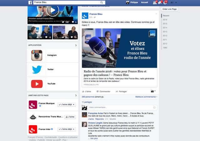 France Bleu a communiqué régulièrement sur les Prix ON'R 2016 sur les réseaux sociaux