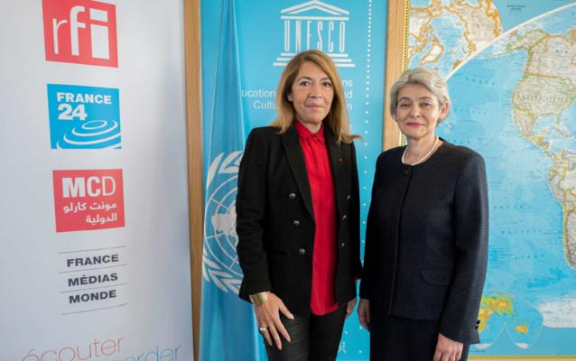 Marie-Christine Saragosse et Irina Bokova © Unesco/Christelle Alix