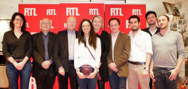 De gauche à droite : Isabelle Pic, Jean-Daniel Colom, Olivier Mazerolle, Marie Zafimehy (lauréate), Catherine Mangin, Sylvain Zimmerman, Romain Renner, Antoine Daccord, Benjamin Turquier © Romain Boé / SIPA Press