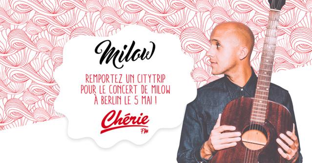 Chérie FM envoie ses auditeurs au concert de Milow