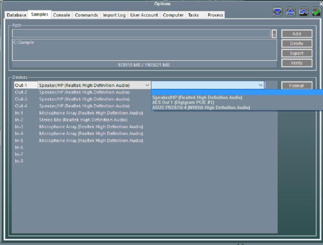 Nouveau menu d'affectation de sorties audio dans Winmedia