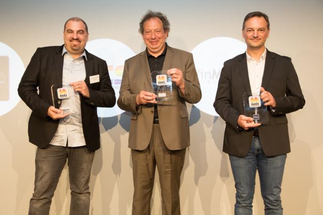 La remise des Trophées SDA avec (de gauche à droite) Stéphane Tésorière (WinMedia), Lionel Guiffant (RCS) et David Delcroix (Ixidia)