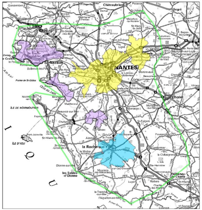 Contour des allotissements susceptibles d'être mis en appel (en vert, contour de l'allotissement étendu de Nantes, en jaune allotissements locaux de Nantes, en mauve allotissement local de Saint-Nazaire et en bleu allotissement local de La Roche-sur-Yon)