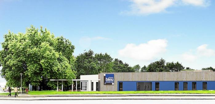 Le futur bâtiment qui accueillera l'équipe de France Bleu Breizh Izel dessiné par l'Atelier d'architecture Francès-Jacquin sera installé à Creach-Gwen à proximité du centre-ville, au bord de l'Odet