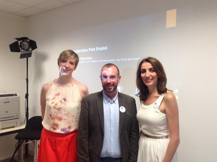 Nathalie Birocheau de France info avec Jason et Lila du Pôle Emploi Audiovisuel Spectacle Techniciens IDF