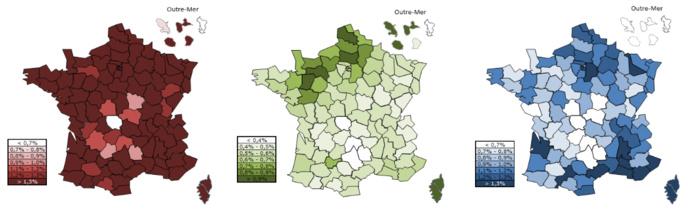 Répartition géographique de la population des CJA  en paris sportifs, paris hippiques et poker © Arjel