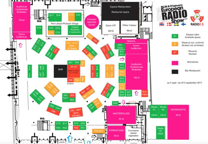 Le plan du Salon de la Radio 2018 au 15/09/17