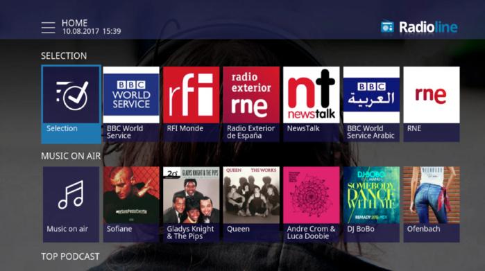 Radioline est disponible sur Virgin TV au Royaume-Uni