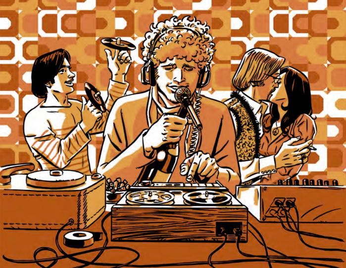 Bonne ambiance dans le studio de Radio Nomade (les moins de 20 ans ne peuvent pas comprendre NDLR) © Dargaud