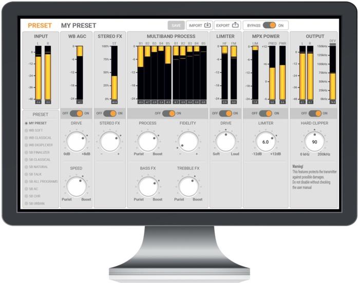 VUmetres et interface du nouveau traitement 5 bandes