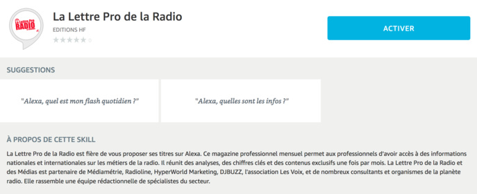 La Lettre Pro de la Radio est aussi sur Alexa