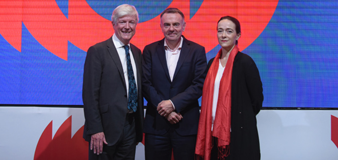 Tony Hall, Noel Curran et Delphine Ernotte Cunci