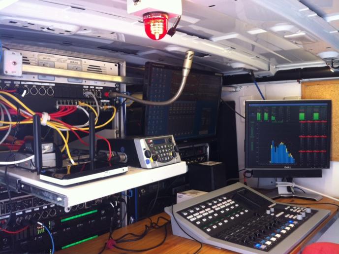 L'intérieur du véhicule équipé de Radio Espérance. Côté énergie, il est possible d'y adjoindre un groupe électrogène pour assurer une émission en rase campagne.