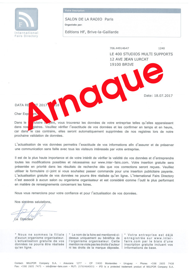 Salon de la Radio : attention aux arnaques