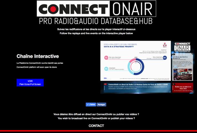 La plateforme ConnectOnAir avec son player interactif. Les prémices de la plateforme
