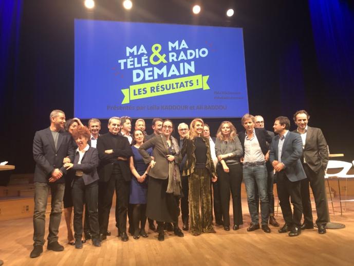 Delphine Ernotte (France Télévisions) et Sibyle Veil (Radio France) ont présenté les résultats de cette consultation commune © François Quairel / La Lettre Pro de la Radio