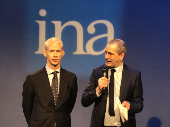 Franck Riester (ici avec le président de l'INA Laurent Vallet), plaide pour un audiovisuel public fort. Photo FQ / La Lettre Pro de la Radio
