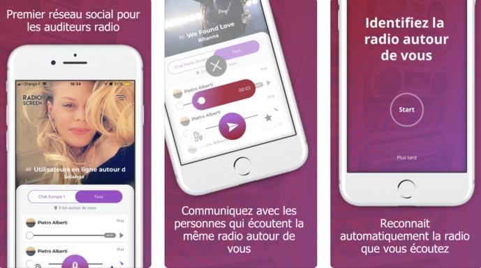 Radio Screen détecte automatiquement la radio que l'auditeur écoute en voiture (FM, DAB+) et lui propose de communiquer avec des personnes qui écoutent la même radio