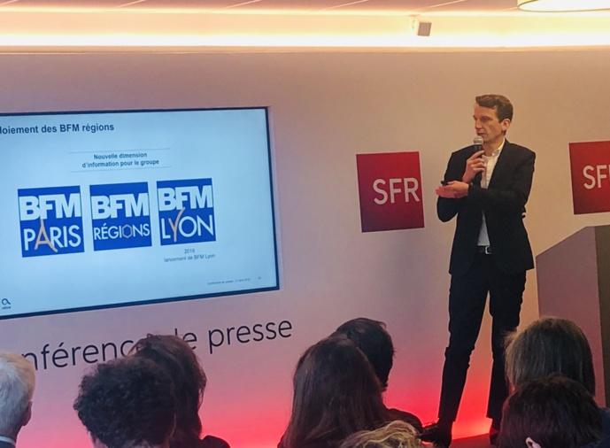 Damien Bernet a dévoilé le projet BFM Lyon le 11 avril dernier lors de la présentation des résultats d'Altice. / SFR.