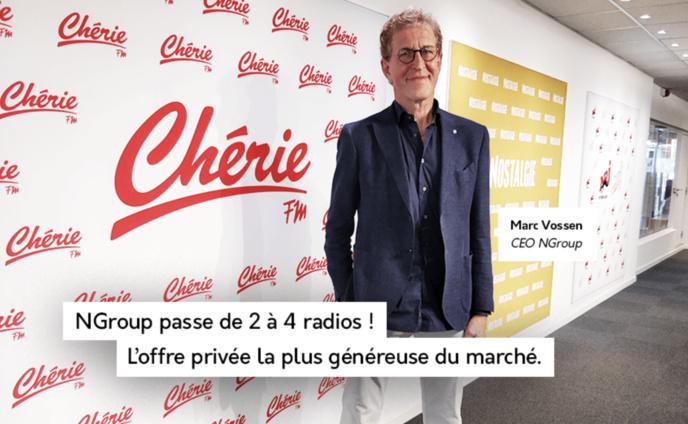 En Belgique, la dernière vague d'audience CIM crédite déjà NGroup d'une audience globale de 931 231 auditeurs par jour. Les trois radios (NRJ, Nostalgie et Chérie), dirigées par Marc Vossen, atteignent ensemble une part de marché de 22.1%