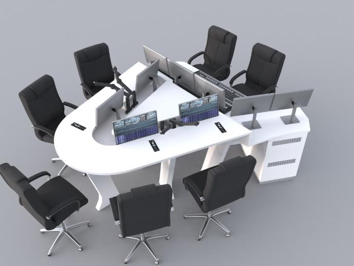 Radio FG, dessin 3D du mobilier du studio principal avec accessoires par SAVE Diffusion.