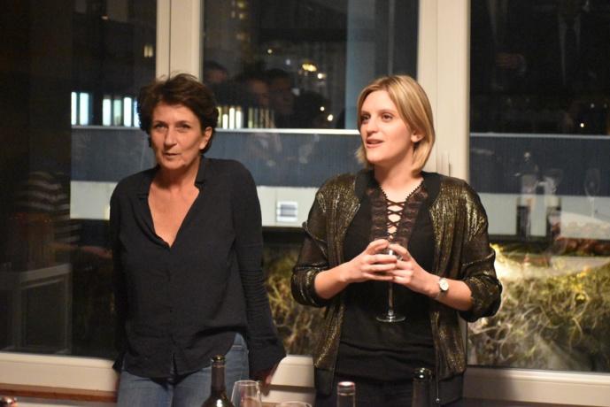 Laurence Aubron (Euradio) et Camille Petitjean (Jeunes Européens Strasbourg) à l'inauguration des nouveaux locaux d'Euradio à Strasbourg © Tristan Boursico