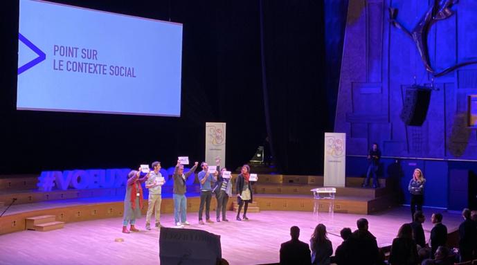 Le contexte social tendu  à Radio France s'est encore une fois exprimé ce matin lors de la cérémonie des voeux © Photo Twitter SNJ Radio France