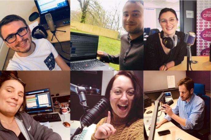 En-haut : Corentin (animateur 16h-20h), Clément (journaliste), Julie (journaliste). En-bas : Jocelyne (réalisatrice), Aurélie (animatrice 12h-16h) et  Samuel (directeur des programmes)