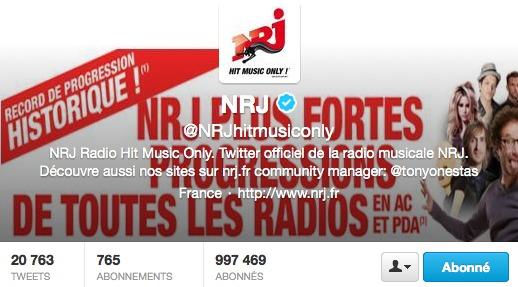 1 million de followers pour NRJ