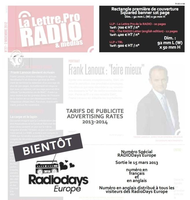 Annoncez dans la prochaine La Lettre Pro de la Radio spécial RadioDays Europe