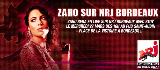 Zaho sur NRJ Bordeaux