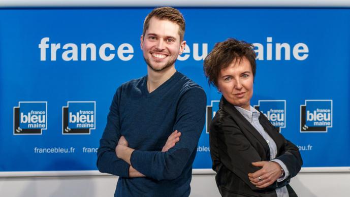"""La matinale """"France Bleu Maine Matin"""" est présentée par Mathieu Doucet, animateur) et Christelle Caillot (journaliste)"""