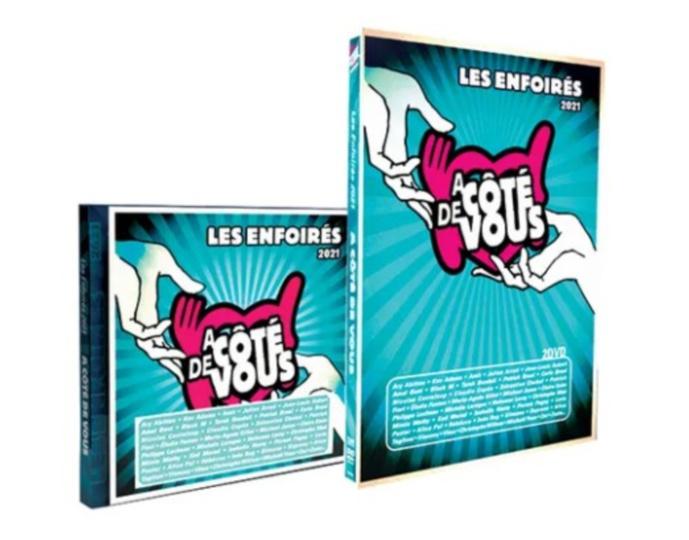 """Le double CD et le double DVD de la troupe """"2021 Les Enfoirés à côté de vous"""" sont disponibles à la vente avec l'intégralité du concert et de nombreux bonus. Chaque vente de CD ou de DVD permet d'offrir 17 repas aux Restos du Cœur."""