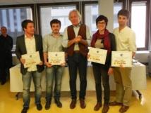Autour de Jean-Luc Hees, les lauréats de gauche à droite : Damien Triomphe, Pierrick de Morel, Agathe Mahuet et Lucas Roxo © Radio France - JB
