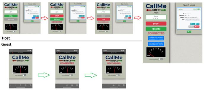 CallMe-diRECt montrant les écrans animateur et invité. © Vortex.