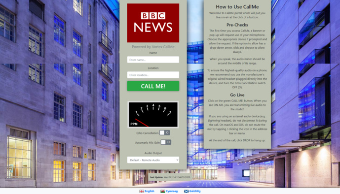 La solution CallMe Click-&-Connect, née de recherches avec la BBC.  © Vortex.
