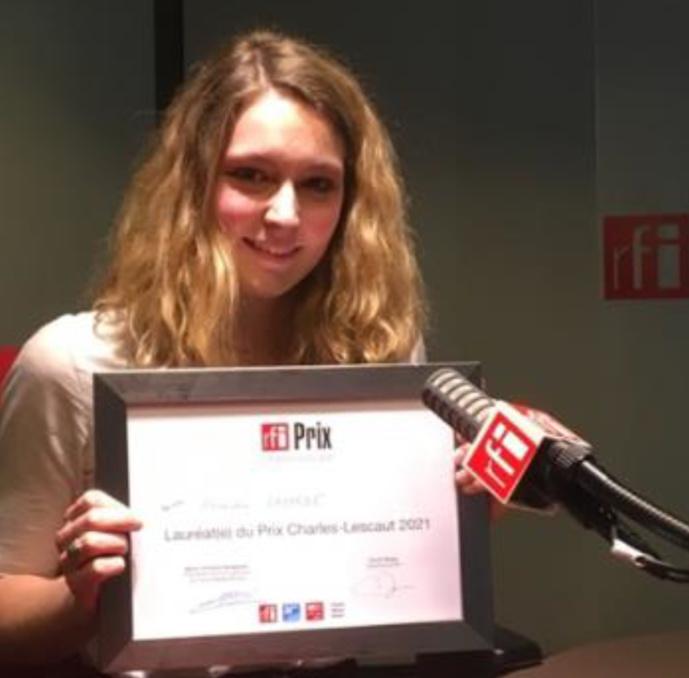 Alexandra Lagarde, lauréate du Prix RFI Charles Lescaut