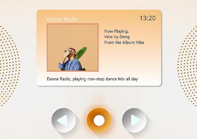 Le nouveau visuel de l'écran à l'écoute de la radio