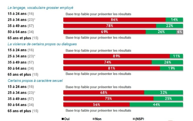 Quelle que soient les classes d'âge, une majorité de Français est choquée par la grossièreté et la violence des propos