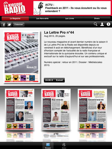 La version iPad de l'application Le Kiosque Radio