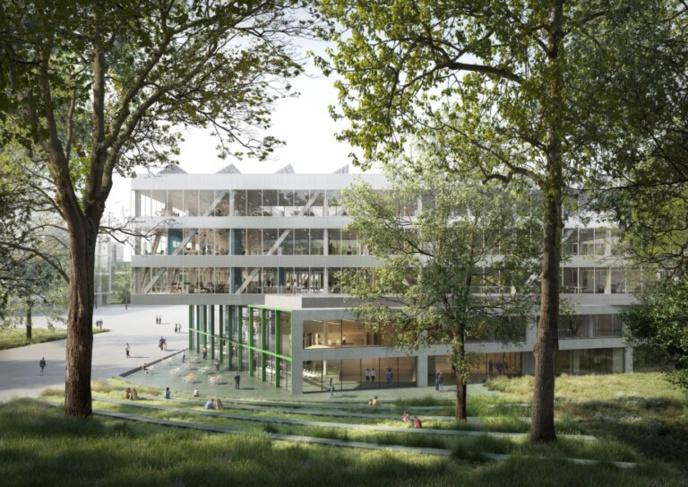 """La structure se composera de deux """"volumes"""" avec des parois de verre. Image © VRT"""