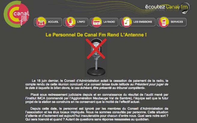 Depuis ce matin, le site internet de Canal FM témoigne lui aussi de l'inquiétude des salariés