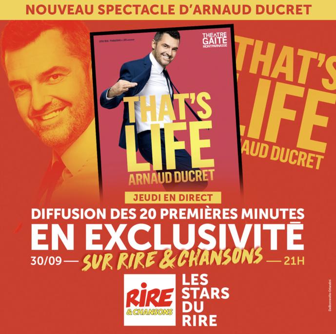 Le spectacle d'Arnaud Ducret en direct sur Rire & Chansons