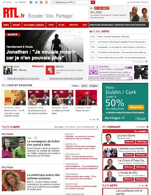 RTL premier site radio de France