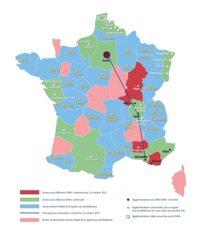 La carte du dépoiement du DAB+ en France