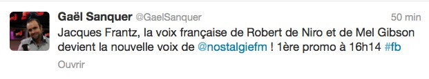 Jacques Frantz nouvelle voix de Nostalgie