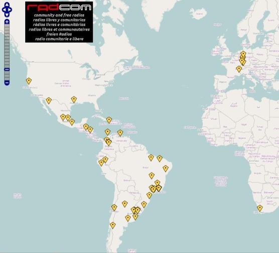 Plusieurs radios libres sud-américaines sont recensées dans cette application