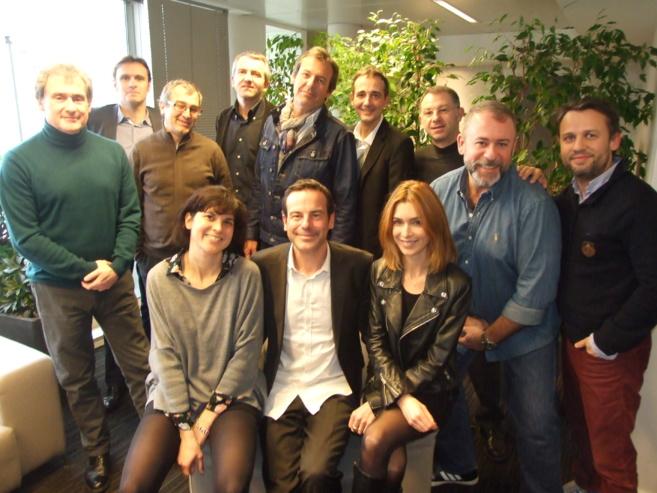 Le Jury des Jeunes Talents de la Radio et de la Télé avec au centre Rémi Castillo, le créateur du concours